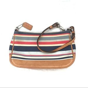 Coach Red White Blue Striped Leather Zip Wristlet